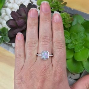 {NEW} Purple Opal 925 Sterling Silver Halo Ring